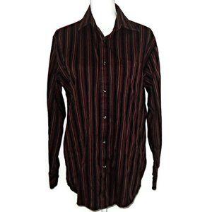 Tasso Elba Men's Maroon Pinstripe Shirt